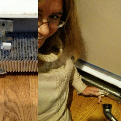 Before and after cleaning the radiators! Used a vacum and Q tips!!